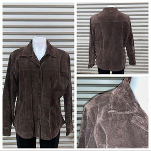 AMI brown suede top button up